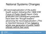national systems changes