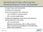 how acute care provisions affect long term services and supports providers and consumers