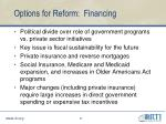 options for reform financing