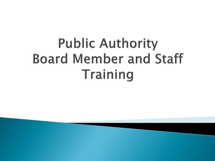 public authority board member and staff training n.