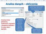 analiza danych obliczenia