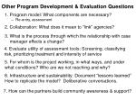 other program development evaluation questions