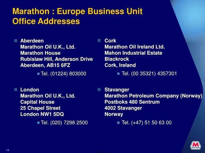 Marathon : Europe Business Unit