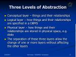 three levels of abstraction