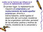 cu les son los factores que influyen en el proceso de implementaci n curricular