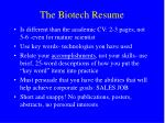 the biotech resume