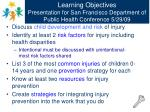 learning objectives presentation for san francisco department of public health conference 5 29 09