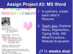 assign project 3 ms word
