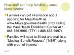 how staff can help families access masshealth