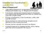 intensive care coordination june 30 2009