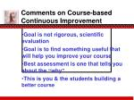comments on course based continuous improvement