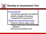 develop an assessment tool