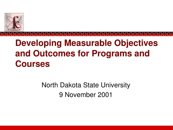 developing measurable objectives and outcomes for programs and courses n.