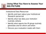 using what you have to assess your big picture2