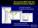 accessing ado with the dataenvironment object