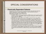 special considerations94