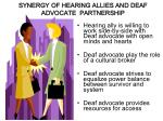 synergy of hearing allies and deaf advocate partnership