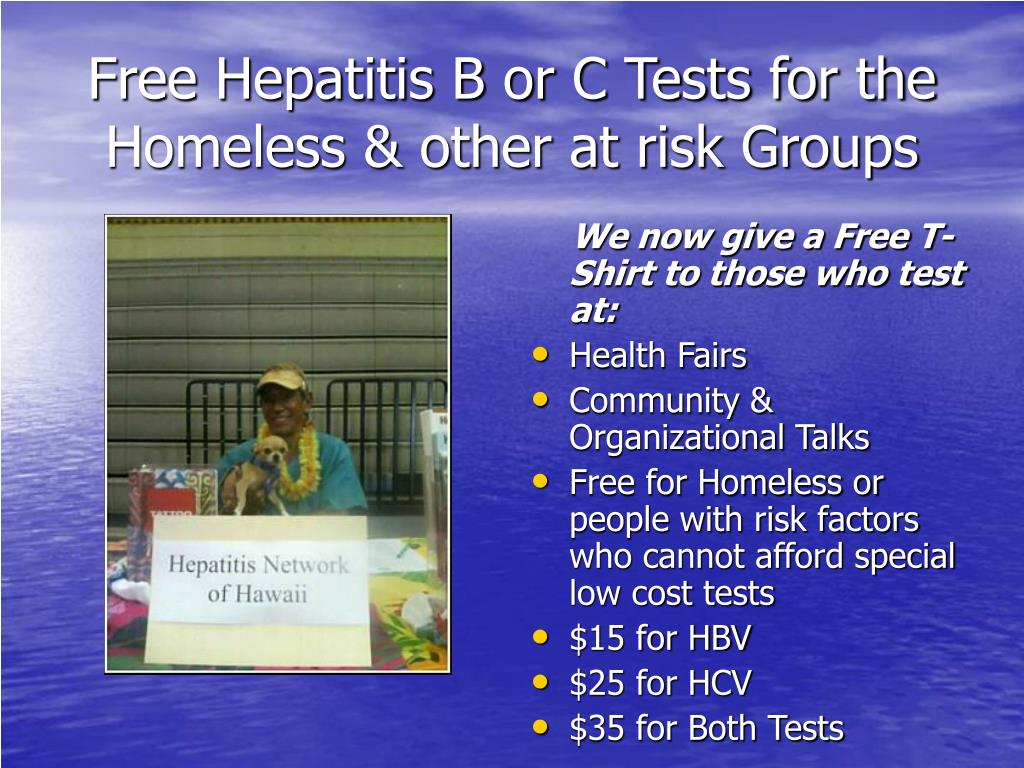 Free Hepatitis B or C Tests for the Homeless & other at risk Groups