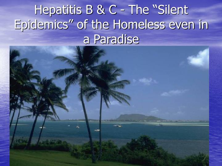 Hepatitis b c the silent epidemics of the homeless even in a paradise