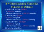 bw manufacturing capacities ministry of defense