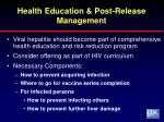 health education post release management