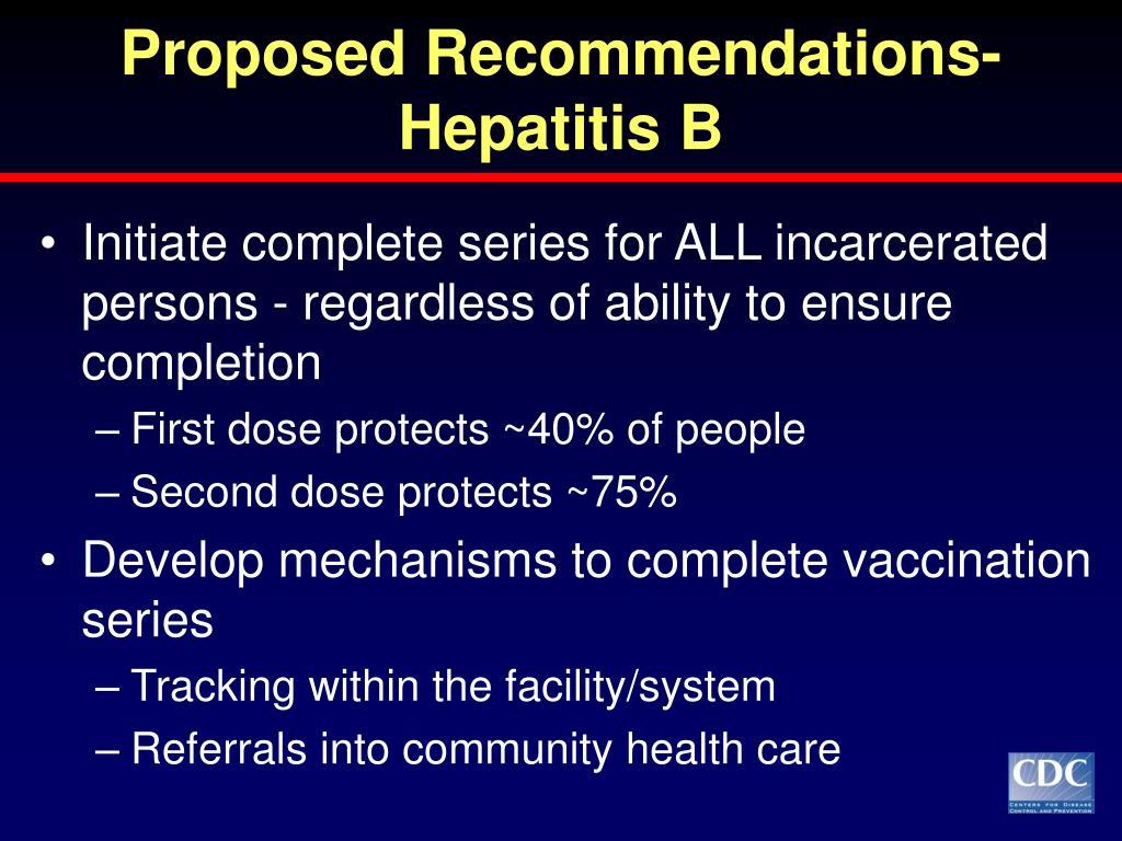 Proposed Recommendations-Hepatitis B