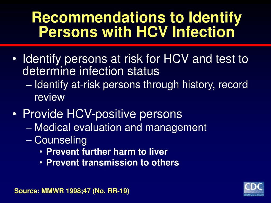 Recommendations to Identify Persons with HCV Infection