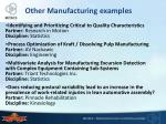 other manufacturing examples