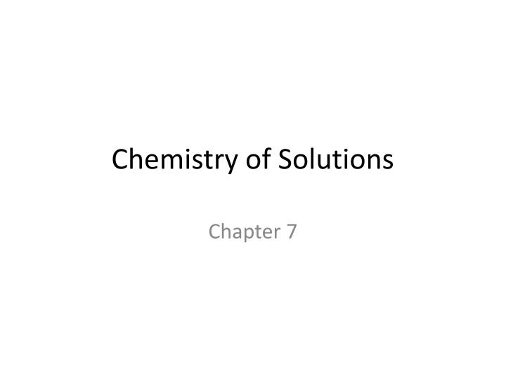 chemistry of solutions n.