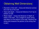 obtaining well dimensions
