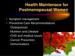 health maintenace for postmenopausal women