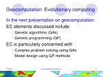 geocomputation evolutionary computing