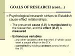 goals of research cont