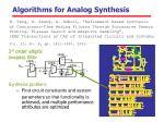 algorithms for analog synthesis