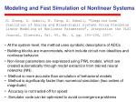 modeling and fast simulation of nonlinear systems