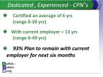 dedicated experienced cpn s