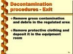 decontamination procedures exit