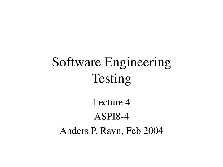 software engineering testing n.