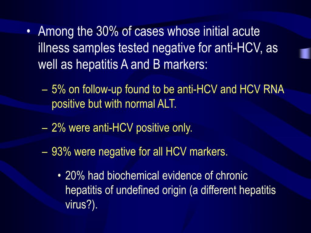 Among the 30% of cases whose initial acute illness samples tested negative for anti-HCV, as well as hepatitis A and B markers: