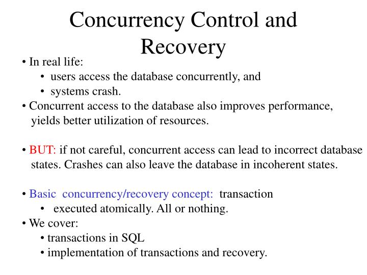 concurrency control and recovery n.