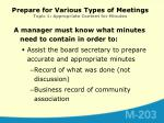 prepare for various types of meetings topic 1 appropriate content for minutes