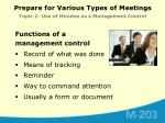 prepare for various types of meetings topic 2 use of minutes as a management control