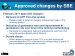 approved changes by sbe