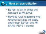 note on accreditation