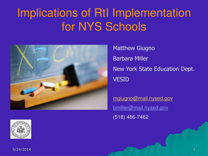 implications of rti implementation for nys schools n.