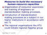 measures to build the necessary human resource capacities