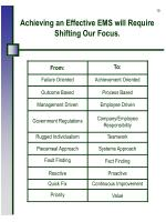 achieving an effective ems will require shifting our focus