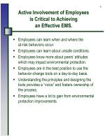 active involvement of employees is critical to achieving an effective ems