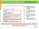 review of system requirements3