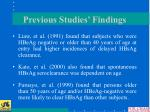 previous studies findings